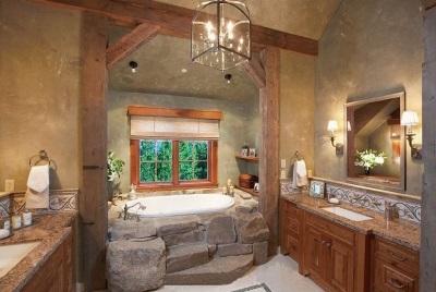 Большая ванная комната в стиле кантри