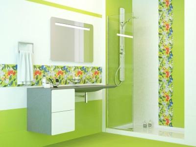 Салатовая ванная комната с контрастными цветами