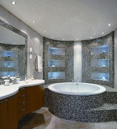 Освещение серой ванной по периметру