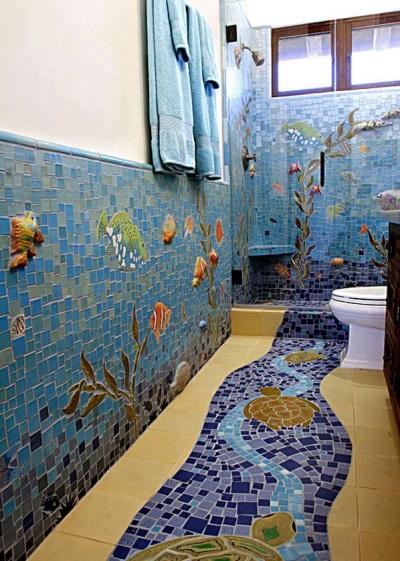 Морские орнаменты в ванной
