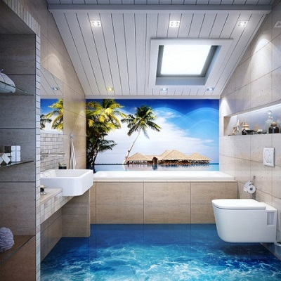 Морской пол для ванной комнаты