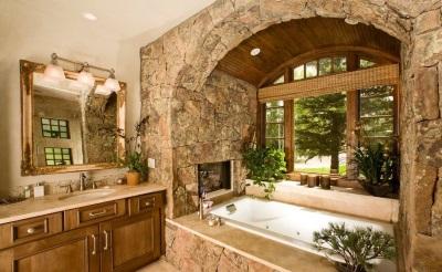 Ванная в стиле кантри с окном