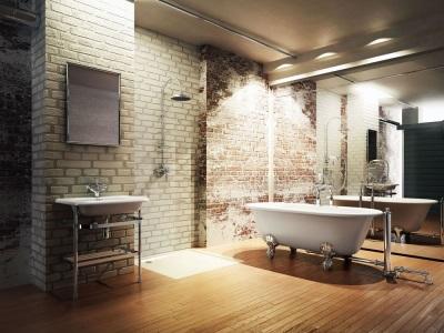 Белая ванна в ванной комнате в стиле кантри