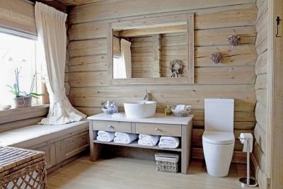 Занавески, текстиль в ванной в стиле кантри