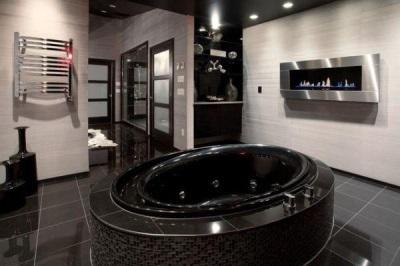 Черная акриловая встраиваемая ванна