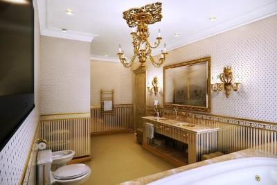 Золотые аксессуары в ванной