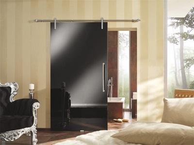 Стеклянная раздвижная дверь в ванную комнату