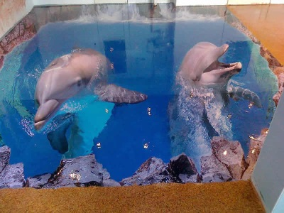 Дельфины на полу - 3D пол