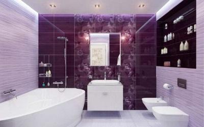 Дизайн ванной комнаты в фиолетовом цвете