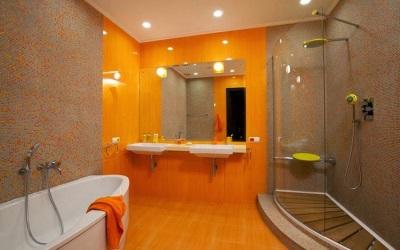 Дизайн ванной комнаты в оранжевом цвете