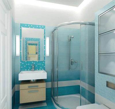 Плитка в ванной комнате уложенная полосками