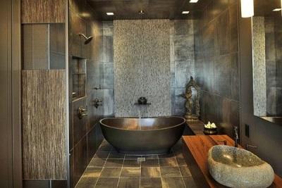 Каменные раковины в ванной с эко-стилем