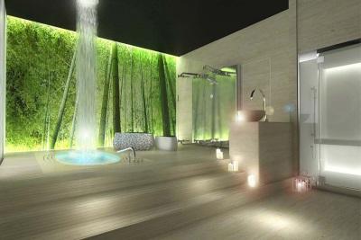 Панно и водопад в ванной комнате