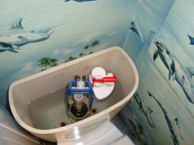 Установленная арматура на унитаз с нижней подводкой