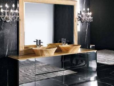 Тумба с раковиной и зеркалом в ванную комнату