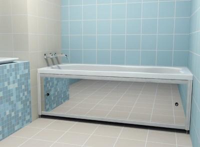 Зеркало вместо экрана под ванной