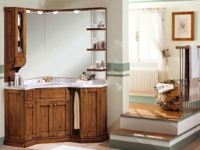 Зеркало с тумбочкой (шкафчиком) для ванной