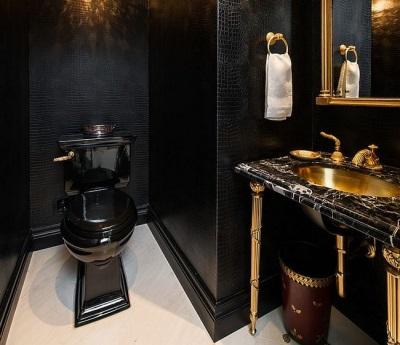 Особенности дизайна ванной комнаты с черным унитазом