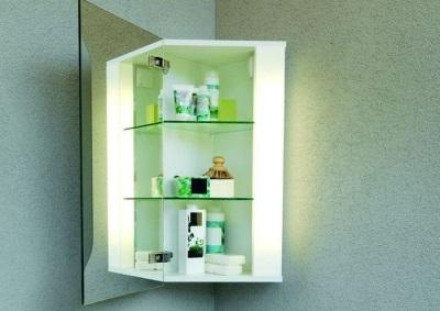 Угловой шкафчик с зеркалом для ванной комнаты
