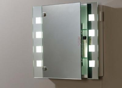 Зеркало в ванной со шкафчиком