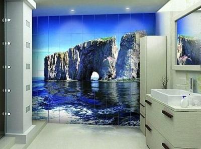 Фотообои в ванной и их освещение