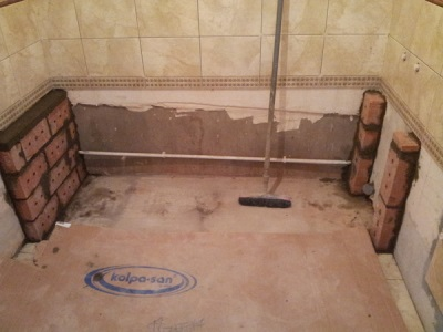 Подготовительные работы для установки ванны на ножки