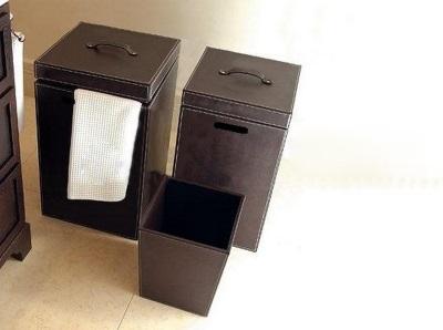 Кожаные корзины для белья для ванной