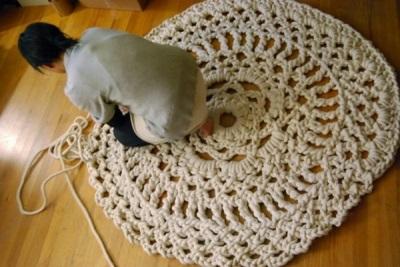 Этапы работ по вязанию коврика крючком для ванной и туалета
