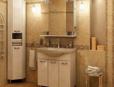 Угловой шкаф-пенал для ванной комнаты с корзиной для белья