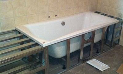 Крепление ванны металлическим каркасом
