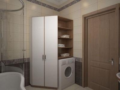 Размещение углового шкафа для стиральной машины в ванной комнате