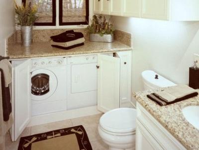 Шкаф в ванной комнате для стиральной машины