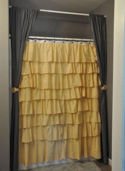 Тканевые шторки для ванной разной текстуры и разного цвета