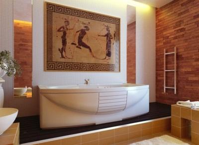 Роспись стен или плитка-картина в ванной греческого стиля