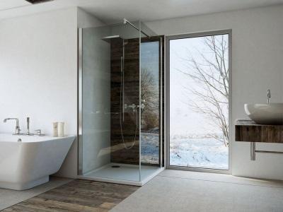Ванная комната в скандинавском стиле - Натуральные материалы, большие окна, светлая сантехника и стены