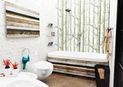 Белая ванная комната в скандинавском стиле с яркими акцентами