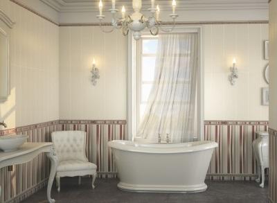 Мягкое большое кресло в ванной комнате в стиле барокко