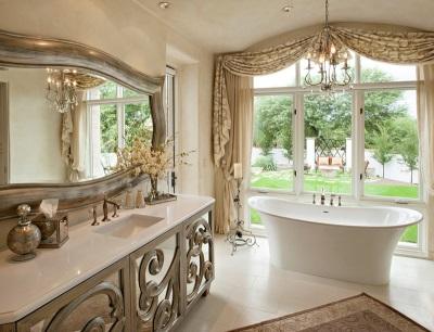 Золотой цвет в отделке ванной комнаты в стиле барокко и мебели для неё