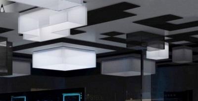 Необычные потолочные светильники в ванной комнате в стиле хай-тек