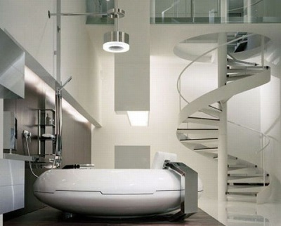 Необычный интерьер ванной в стиле хай-тек