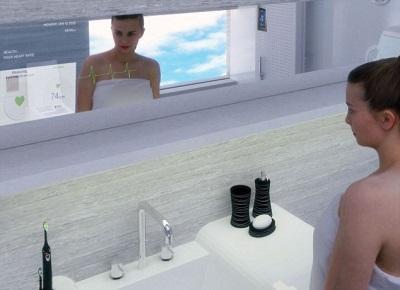 Зеркало с телевизором, механические зубные щетки и прочие современные аксессуары для ванной в стиле хай-тек