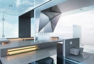 Современный интерьер ванной комнаты в стиле хай-тек - ванна с подиумом