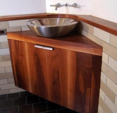 Угловая Подвесная тумба с круглой накладной раковиной для ванной комнаты