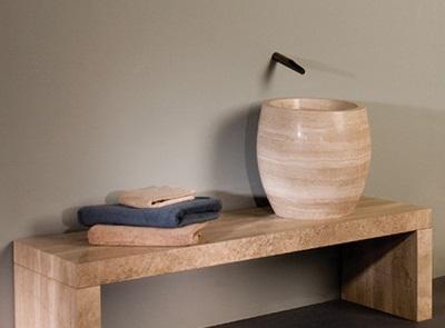 Размеры умывальников для ванной - глубокий умывальник из натурального камня