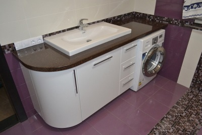 Красивая тумба с раковиной под стиральную машину