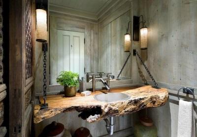 Настенный встроенный в столешницу из дерева умывальник в ванной комнате
