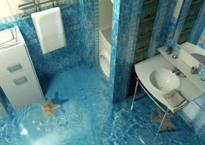 3D-фотоплитка для пола ванной комнаты - вода и морские звезды