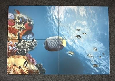3D-плитка для ванной комнаты - океан, рыбки, кораллы