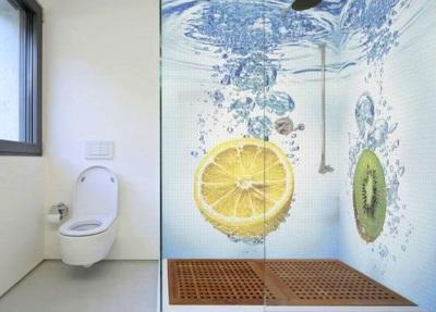 3D-плитка на стены ванной комнаты - фрукты в воде