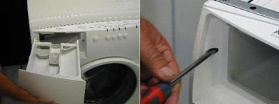 Снятие резервуара с моющими средствами стиральной машины